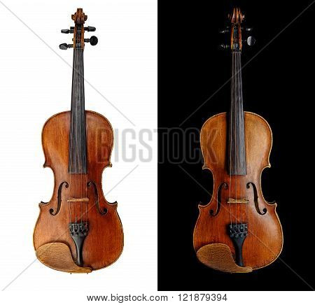Violin (fiddle) front view isolated on white background with clipping path. String instrument of the violin family.