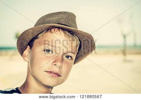 selfie of a beautiful boy at the beach