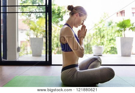 Woman Yoga Practice Pose Training Concept