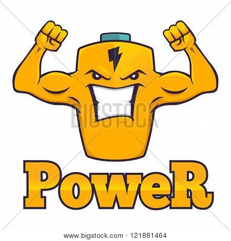 Cartoon character of a powerful battery with strong muscular arm