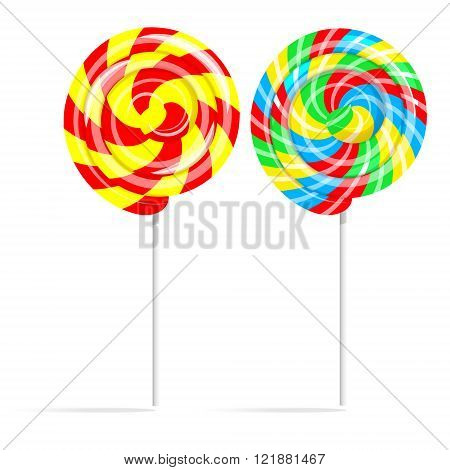 Colorful swirl lollipop set. Lollipop candy on a stick isolated on white background vector illustration
