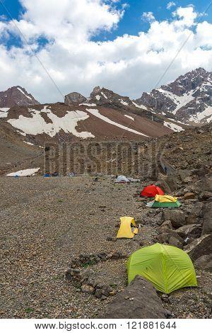 Camp on Rocky Moraine