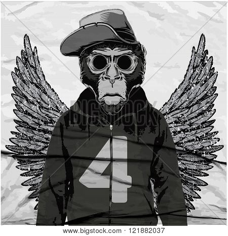 Monkey Tee Graphic illustration t-shirt graphics vectors