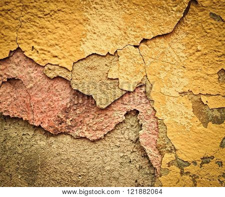 abstract background or texture old eroded plaster layer color
