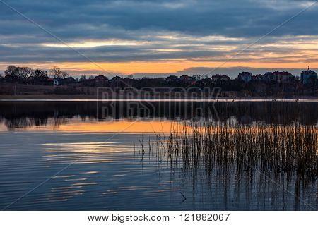 Beautiful Lake Landscape After Sunset