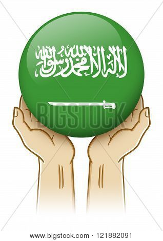 Pair of hand holding and lifting an orb with Saudi Arabia insignia