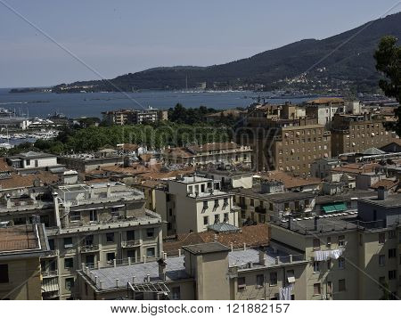 la spezia at the mediterranean coast in italy