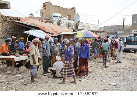 HADIBOH, SOCOTRA ARCHIPELAGO, YEMEN - FEB 14, 2016: Local market in the main town on the Socotra island