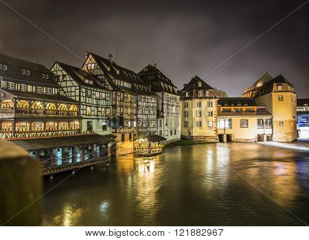 View on river in Strasbourg, France at night