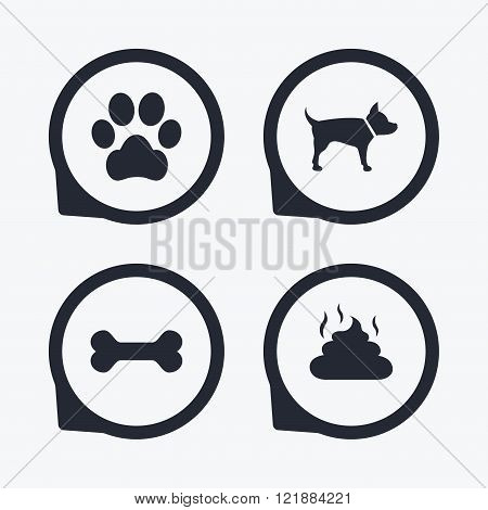 Pets icons. Dog paw and feces signs.