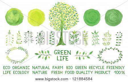 Set of watercolor logotypes. Green spots labels badges leaves branches plants elements laurels wreaths frames tree. Organic bio ecology eco natural design template alphabet. Hand drawn tree.