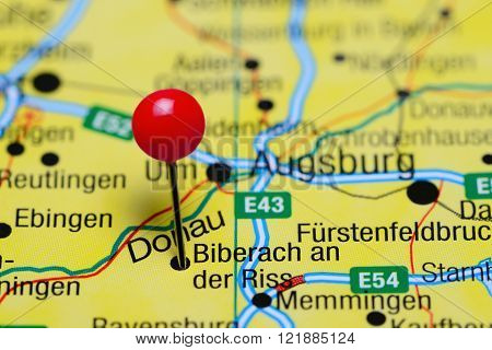 Photo of pinned Biberach an der Riss on a map of Germany. May be used as illustration for traveling theme.