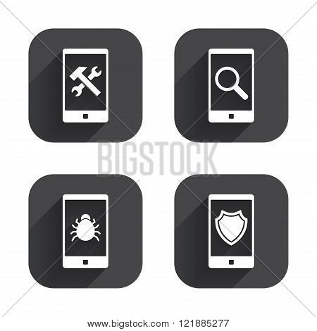 Smartphone icons. Shield protection, repair, bug