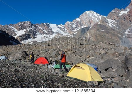 Alpine Climbers Camp in Morning