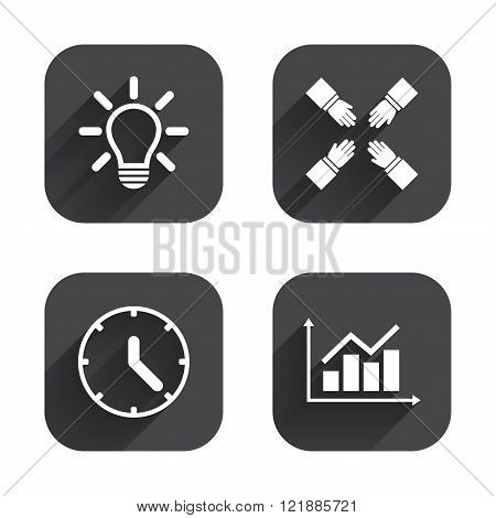 Lamp idea and clock time. Graph chart diagram.