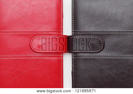 leather office organizer on a white background