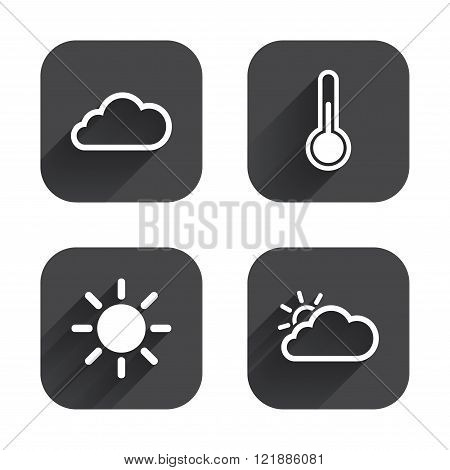 Weather icons. Cloud and sun. Temperature symbol