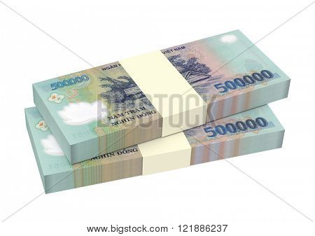 Vietnamese dong bills isolated on white background. Computer generated 3D photo rendering.