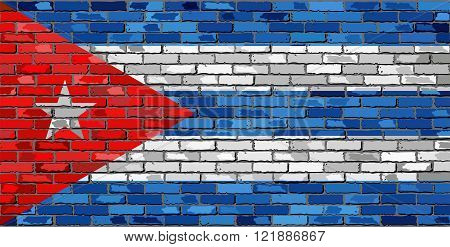 Flag of Cuba on a brick wall - Illustration.