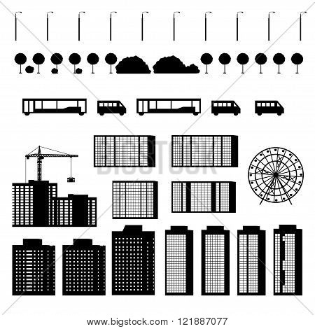Set of city silhouettes. Silhouettes urban buildings isolated on white background. Silhouette building under construction with construction crane. Silhouettes urban transport. Vector illustration.
