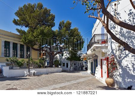 Street in town of Parakia, Paros island, Cyclades, Greece