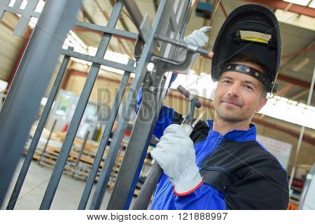 welder with a steel frame