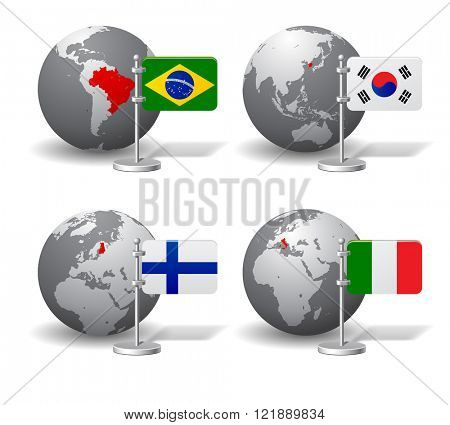 Gray Earth globes with designation of Brazil, South Korea, Finland and Italy location, with state flags. Vector illustration