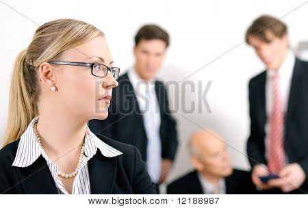 Businesswoman being excluded