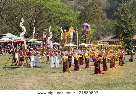 CHIANG MAI, THAILAND - MARCH 13: Thai folk dancer showing Thailand traditional dance in national Thai elephant day at Mae Sa elephant camp in Chiang Mai, Thailand on March 13, 2016.