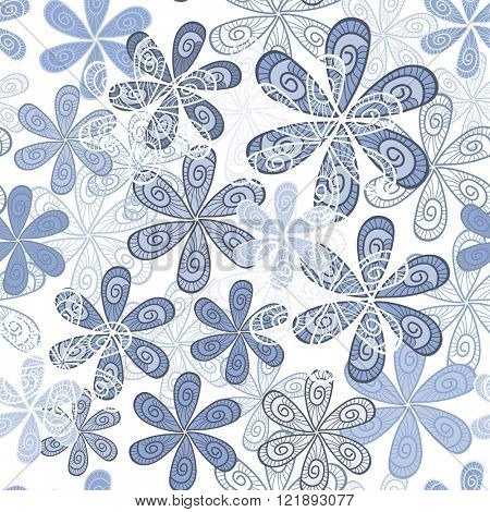 Stylish Flowers Seamless Background. Floral Vector Pattern in pastel colors. Serenity Tint Ornament.