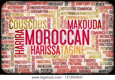 Moroccan Food and Cuisine Menu Background with Local Dishes