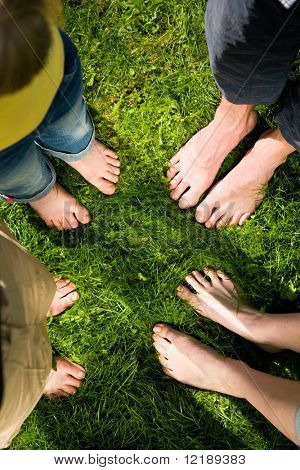 Healthy feet series: feet of men and women of different ages standing in a circle in the grass with daisies, seen from above