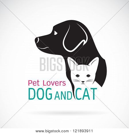 Vector image of a dog and cat design on a white background
