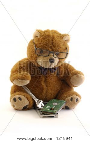 Teddy Bear Repairing A Hard Drive
