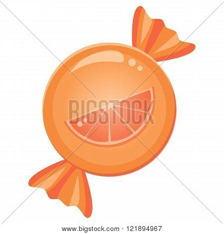 Orange slice mandarin candy sugar drop in a wrapper.
