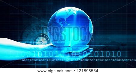 Futuristic Background with Businessman and Globe in Hands