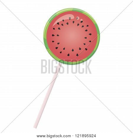 Candy lollipop with watermelon slice on a white background