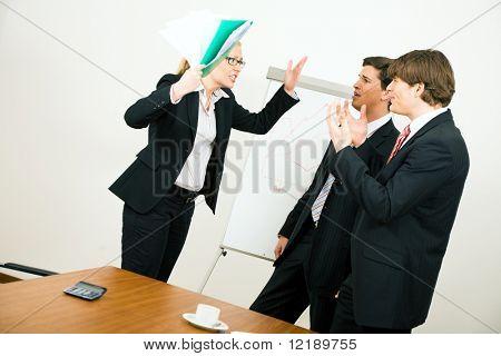 Business team having a quarrel