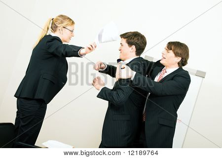 Business discussion coming close to a physical fight