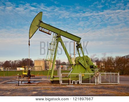 Green Oil Pump Jack