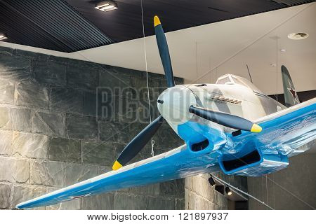 Close up of Soviet russian Yakovlev Yak-9 fighter aircraft In Th