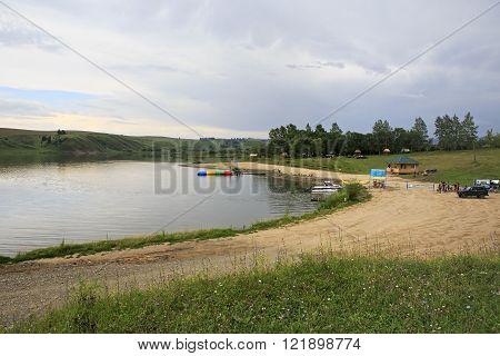 Beach on the lake Sorokino in the village Altaiskoe.