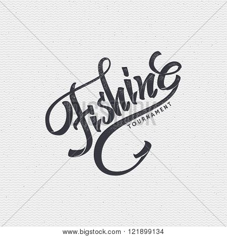 Fishing badges sign handmade differences, made using calligraphy and lettering It can be used as ins