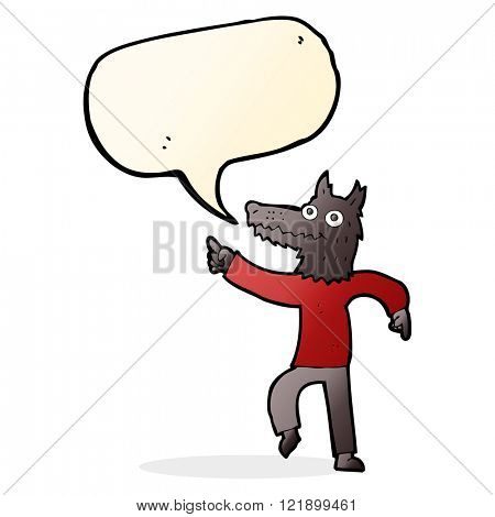 cartoon wolf man with speech bubble