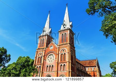 Saigon Notre Dame Cathedral Basilica In Ho Chi Minh City, Vietnam. Asia