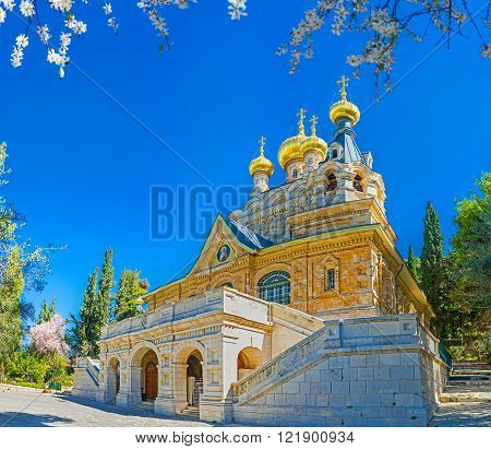 The facade of the Russian Orthodox Church of Mary Magdalene located on the Mount of Olives Jerusalem Israel.