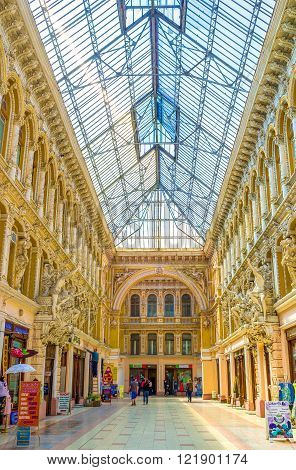 ODESSA, UKRAINE - MAY 18, 2015: The histirical Passage in Odessa is one of the most beautiful passages in the world, on May 18 in Odessa.