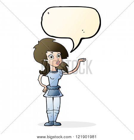 cartoon pretty waitress with speech bubble