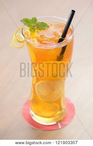 Refreshing ice lemon tea with mint leaf