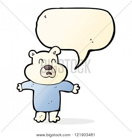 cartoon unhappy polar bear  with speech bubble